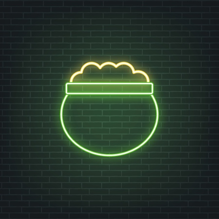 Saint Patricks Day. Neon glowing sign of lerpechaun pot of golden coins. Saint Patrick neon set