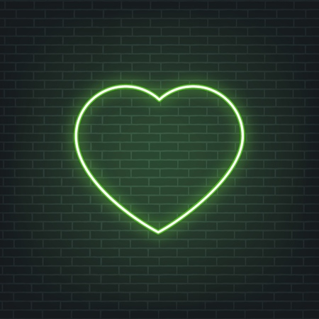 Saint Patricks Day. Neon glowing sign of Patricks heart. Saint Patrick neon set Illustration