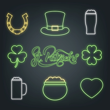 Set of neon glowing design elements for St. Patricks day with hat, horseshoe, heart. Vector illustration on black background.