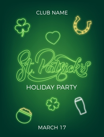 Saint Patricks Day. Invitation design layout with neon St. Patricks lettering and icons.