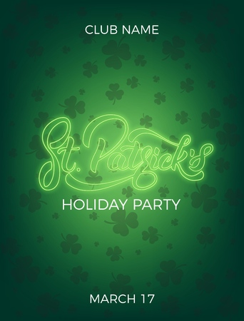 Saint Patricks Day Invitation design layout with neon St. Patricks lettering and clover leaves background.