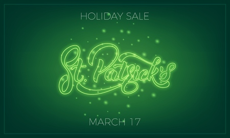 Saint Patricks Day. Banner design layout with neon St. Patricks lettering and glowing firefly particles.