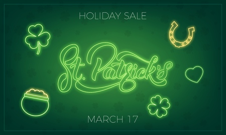 Saint Patrick's Day Banner design layout with neon St. Patrick's lettering and glowing neon icons.
