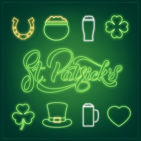 Set of neon icons and St. Patricks lettering. Illustration
