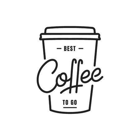 Caffè. Caffè per andare illustrazione dell'iscrizione su una tazza di carta. Emblema distintivo etichetta caffè Vettoriali