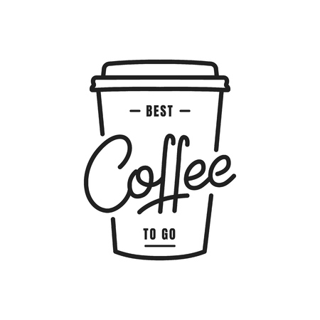 Coffee. Coffee to go lettering illustration on a paper cup. Coffee label badge emblem