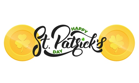 Saint Patricks Day design template. Gold coins with clover leaves. Illustration