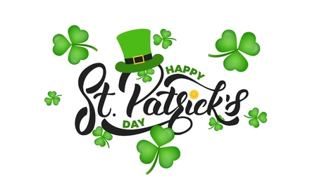 Saint Patricks Day. Clover shamrock leaves background and St. Patricks lettering. St. Patricks Day background