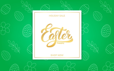 Easter sale banner background with Easter lettering and holiday spring pattern