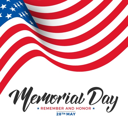 Memorial Day. USA Memorial Day card with lettering and waving flag of USA Illustration