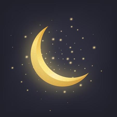 Crescent moon and glowing stars. Ramadan islamic design element Illustration
