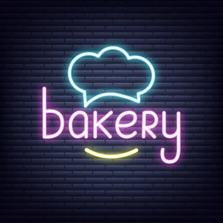 Bakery. Bakery neon sign. Neon glowing signboard banner design Illustration