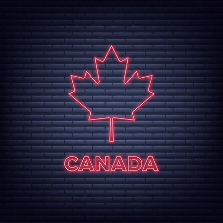 Canada Day. Neon glowing sign of maple leaf and Canada typography.