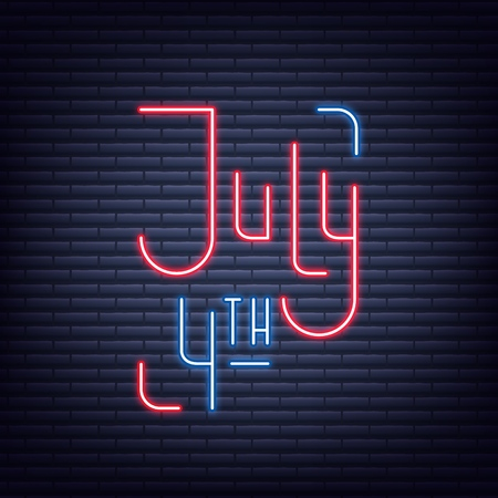 July 4th. Neon sign of lettering logo for USA Independence Day celebration