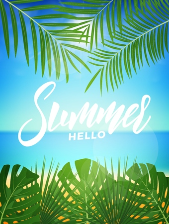 Summer. Tropic background with tropical palm leaves and exotic beach. Summer exotic background Illustration