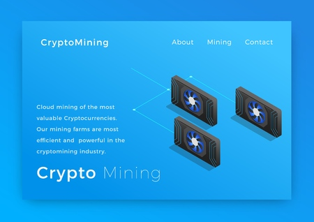 Cryptocurrency mining. Crypto miners concept isometric vector illustration. Landing page design Stock Photo