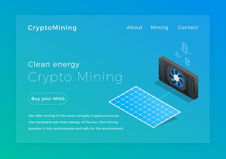Crypto mining. Clean energy cryptocurrency miners concept isometric vector illustration. Landing page design
