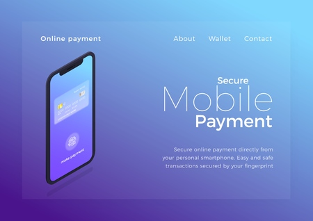 Mobile payment isometric illustration. Smartphone device with secure authentication payment transaction ui. Online banking page design Ilustrace