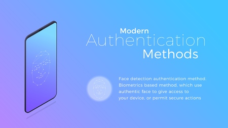Authentication. Modern biometric facial recognition authentication method. Isometric concept of modern digital security