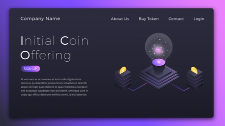 ICO. Initial Coin Offering isometric illustration. ICO investment landing page design Stock Illustration - 105828419