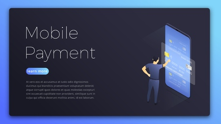 Mobile payment. Isometric illustration of man choosing card for online payment. Online payment concept page design.