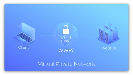 VPN. Virtual Private Network isometric concept. VPN secure tunnel connection Illustration