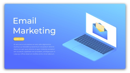 Email marketing. Isometric concept of digital advertising, marketing, customer targeting. Marketing web banner. Illustration