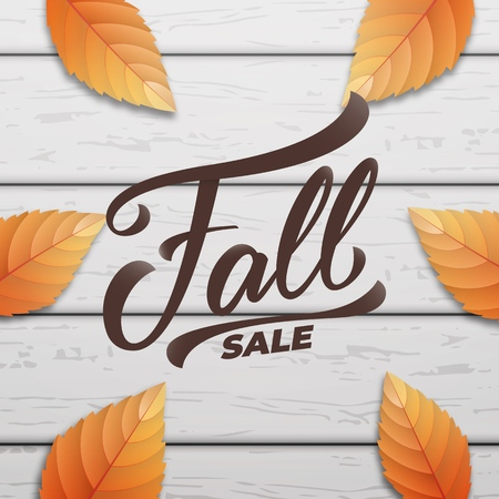 Fall sale. Autumn layout design with wooden background and fall leves. Fall sale, promotion, banner. Illustration