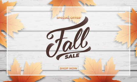 Fall sale background layout design. Fall lettering, fall leaves and wooden background. Autumn sale banner.