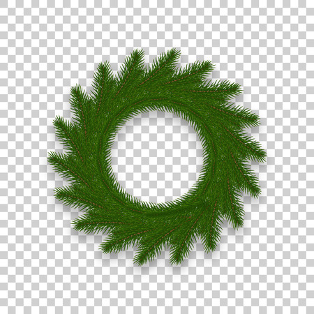 Christmas Wreath isolated. Realistic Christmas decoration made of fir tree branches.