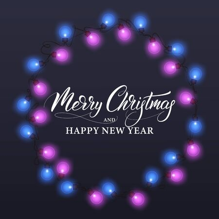 Merry Christmas and Happy New Year. Winter holiday banner with shiny lights and Xmas calligraphy.
