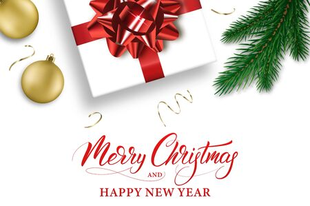 Merry Christmas and Happy New Year. Winter holiday banner with Xmas decorations and calligraphy.