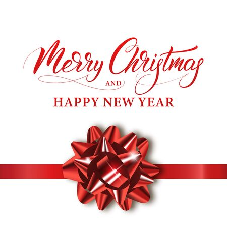 Merry Christmas and Happy New Year. Winter holiday banner with shiny red bow and calligraphy.