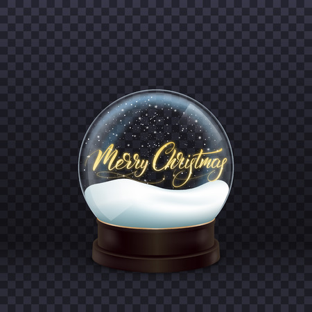 Snow globe. Realistic snow globe with gold Merry Christmas calligraphy. Crystal ball with snow. Illustration