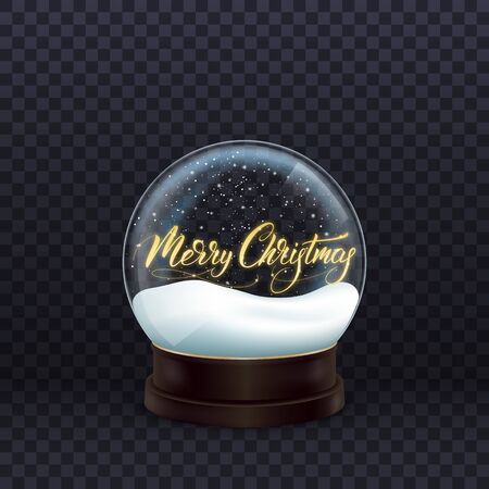Snow globe. Realistic snow globe with gold Merry Christmas calligraphy. Crystal ball with snow. Stock Photo