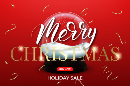 Christmas sale. Xmas banner layout design with snow globe, confetti and lettering. Illustration