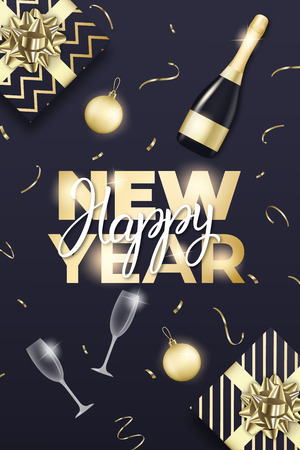 New Year design. Layout with champagne glass, bottle, gold balls, confetti, gift packages and New Year lettering. Stock Illustratie