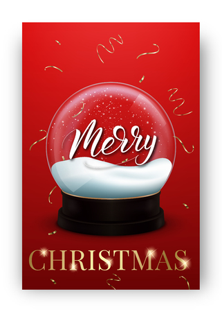 Christmas card. Winter holiday design layout with shiny snow globe and Merry Christmas lettering typography.