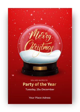 Christmas card. Winter holiday design layout with snow globe and Merry Christmas lettering.