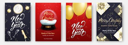 New Year and Christmas cards. Design layouts for Winter holidays. Posters with balloons, snow globe, champagne, decorations and lettering.