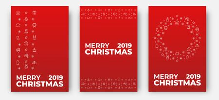 Merry Christmas cards. Design layout with decoration of Xmas icons and Merry Christmas typography. Ilustracja