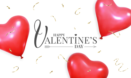 Valentines Day banner layout design, with realistic heart shape red helium balloons and gold confetti.