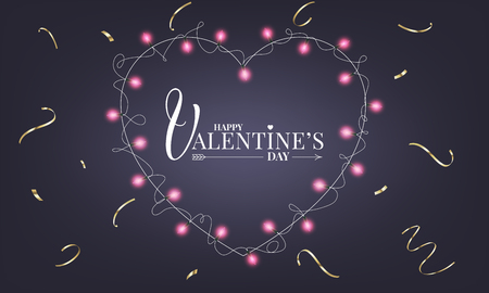 Valentines Day banner with realistic heart shape lamps lights garland and gold confetti.