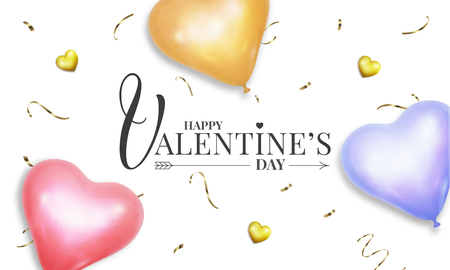 Valentines Day banner with realistic heart shape pastel colors helium balloons and gold confetti