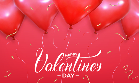 Valentines Day banner. Background with realistic heart shape red helium balloons and gold confetti. Valentines holiday design. Stock Photo