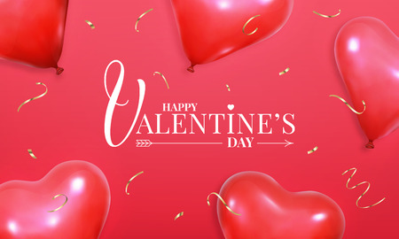 Valentines Day. Layout design with realistic heart shape red helium balloons and gold confetti. Valentines banner.