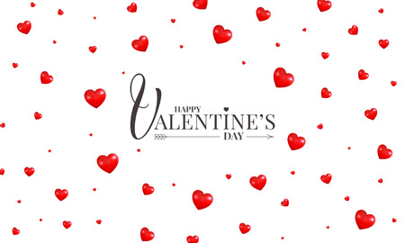 Happy Valentines Day greeting card, banner, background. Design with Valentines hearts and lettering.