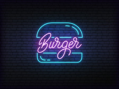 Burger neon glowing sign. Bright vector label of burger and lettering.
