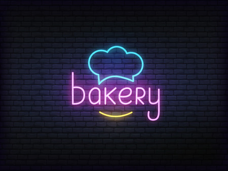 Bakery neon glowing sign. Bright vector label of chef hat and bakery lettering.