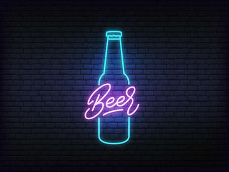 Beer neon glowing sign. Bright vector label of beer bottle and lettering.